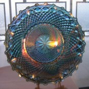 Blue carnival glass dish