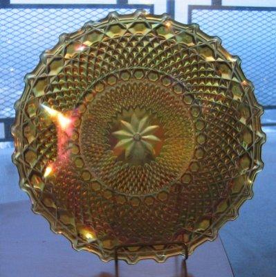 Yellow carnival glass dish