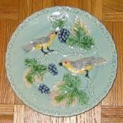 Zell German Majolica bird plate