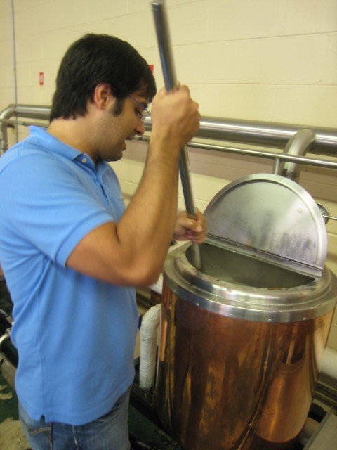 mixing the hops and malt