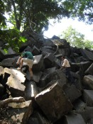 climbing the ruins at Beng Mealea