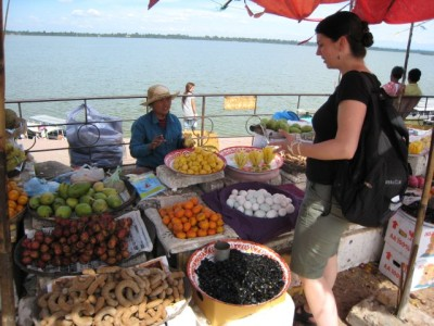 buying tainted jackfruit at the West Baray.  (severe food poisoning followed.)