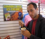 "This is me giving my skeptical look.  (The claim: ""Canada's Best Ice Cream!"")"