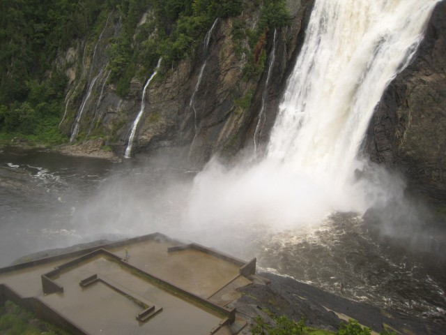 Getting soaked at Montmorency Falls