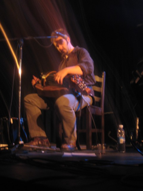 Nicolas Boulerice of Le Vent du Nord, playing with his hurdy gurdy
