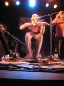 Olivier Demers of Le Vent du Nord, on fiddle and foot board