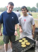 2005 NJ picnic.  two hungry engineers, skeptical over Dr. Praeger's veggie burgers