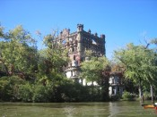 approaching Bannerman's Island Arsenal by kayak