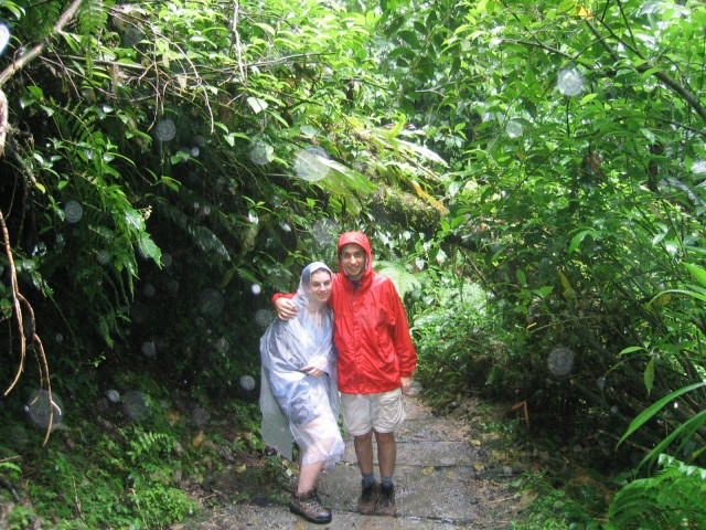on the trail to Trafalgar Falls amidst tropical downpours