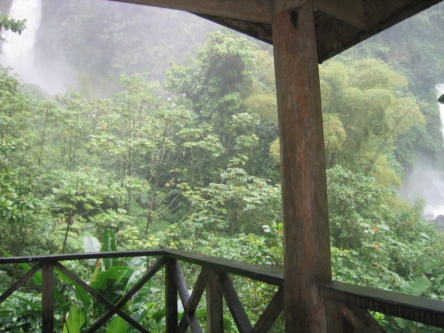 view from the pavillion, capturing part of both waterfalls