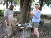 Wonderful lunch in Cabrits Park, courtesy of Mrs. Dr. Birdy. Fish, green banana pie, fresh squeezed orange juice, ...