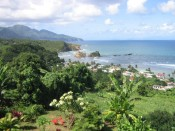 view of the village of Calibishie, seen from our room at Domcan's Guest House