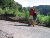 Ron and Sara at the Macoucherie Rum Factory - pre-engagement.  Sugar cane is so fascinating!