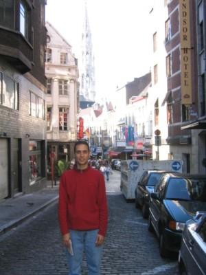 cobblestone street in Brussels