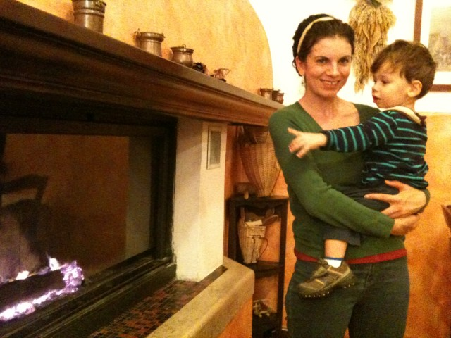 By the fire at Gelindo dei Magredi, a lovely agroturismo in Vivaro.  Lovely dinners!