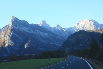 View approaching the Dolomites.