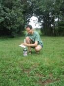 preparing the second mentos/diet coke fountain