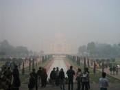 hazy view of the Taj Mahal