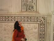 marble inlay of verses from the Koran at the Taj Mahal