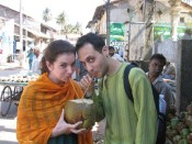 sharing a coconut