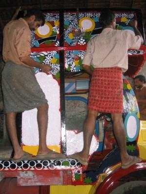 truck painters (artists!) in Kerala