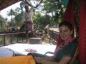 with Captain Babychan on our houseboat, Kerala