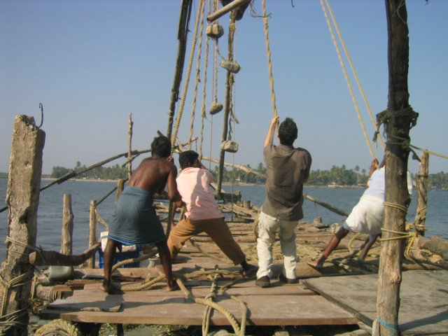 helping out with the Chinese fishing nets