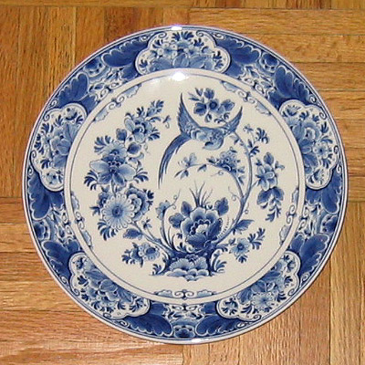 Delft porcelain plate, Delft factory, Delft, Netherlands
