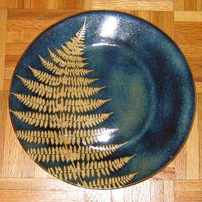 Kaleidoscope Pottery fern leaf plate