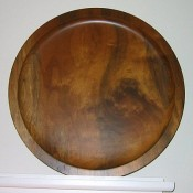 Hand-carved Myrtlewood plate, Bandon, Oregon
