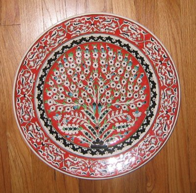 large Turkish plate, Tree of Life design, coral red