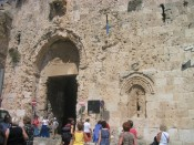 Zion gate into the Old City.  bullet holes everywhere.
