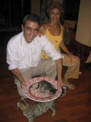 dinner?  no, the plate is too precious to put into the oven.  (the cat, not so much.)