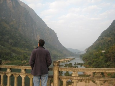 overlooking the beautiful river in Nong Khiaw