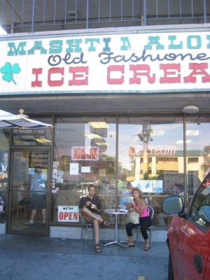 enjoying some Persian ice cream at Mashti Malone's Exotic Ice Cream Parlor.