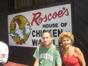 waiting outside Roscoe's House of Chicken and Waffles