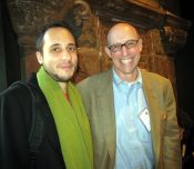 """with Michael Pollan, at the Food, Ethics and the Environment conference.  (""""Vote With Your Fork!"""")"""