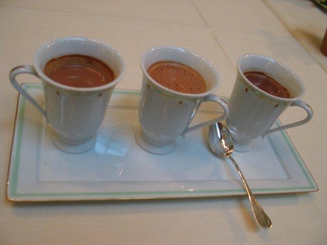 Hot chocolate tasting at Hotel Meurice: plain, cinnamon, and orange