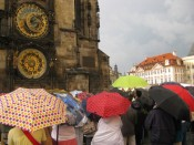 The umbrellas were more impressive than the Astrological Clock show.