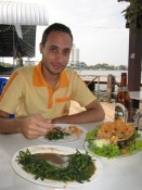 lunch on the river (in my new yellow shirt)