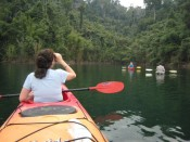 kayaking with one hand, birding with the other