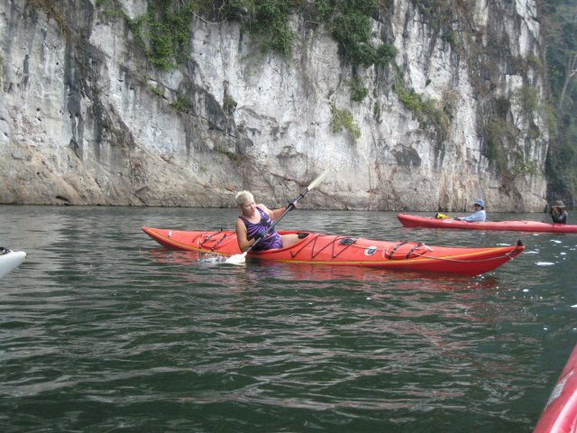 Krista is about to demonstrate how to get back into a kayak
