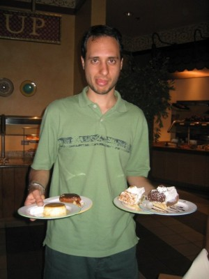 too much dessert at the Aladdin's Spice Market Buffet